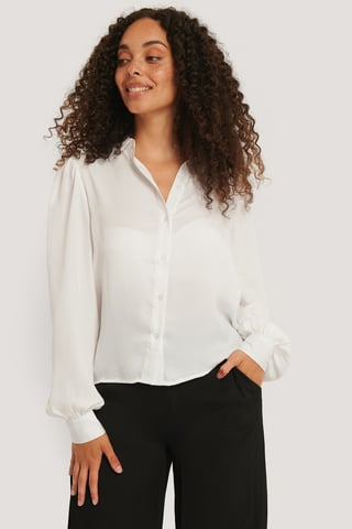 White Volume Sleeve Shirt