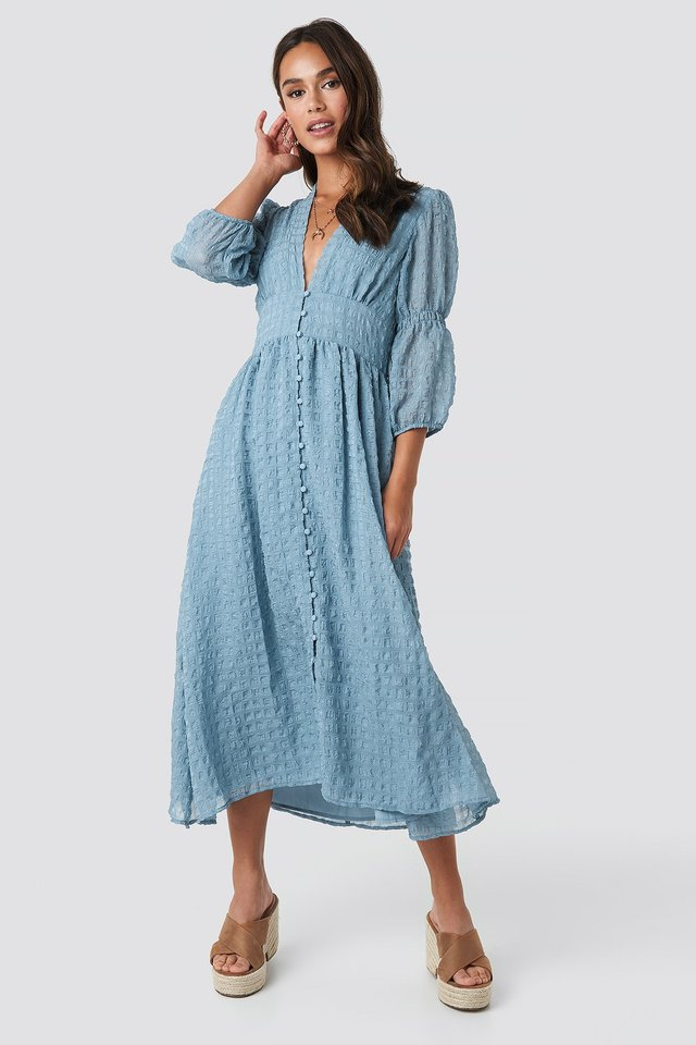 V-Shape Flowy Puff Sleeve Dress Dusty Blue