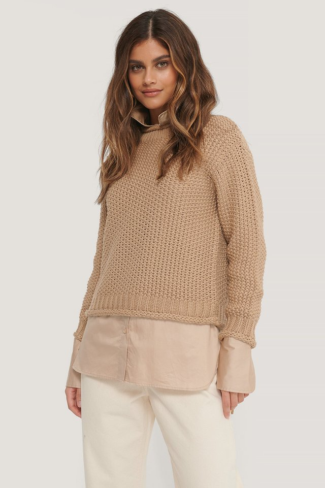 Waffle Knit High Neck Sweater Beige