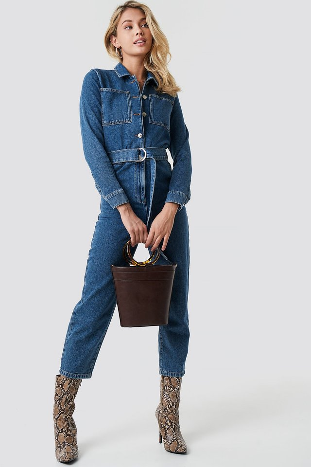Waist Belt Denim Jumpsuit Blue