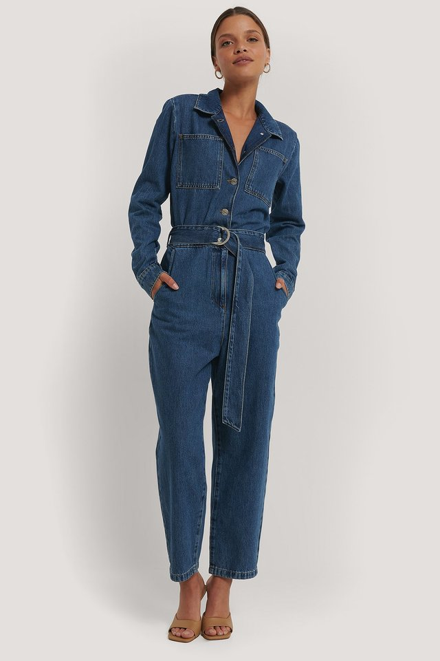 Blue Waist Belt Denim Jumpsuit
