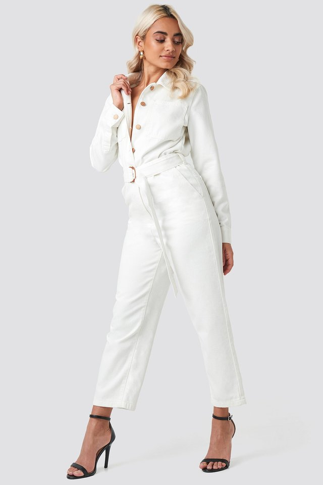 Waist Belt Denim Jumpsuit Beige