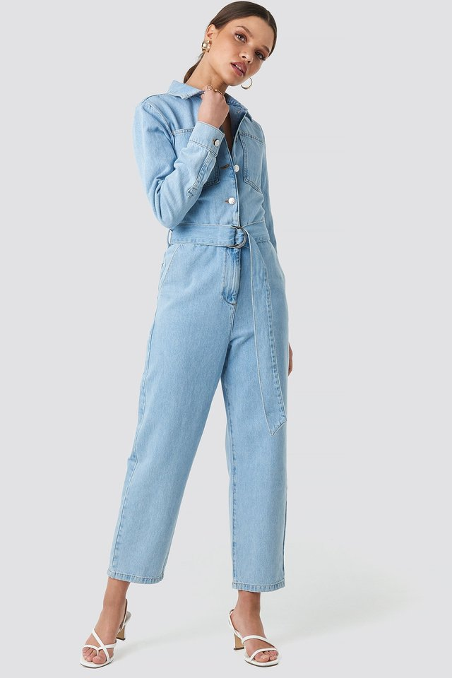 Waist Belt Denim Jumpsuit Light Blue Wash