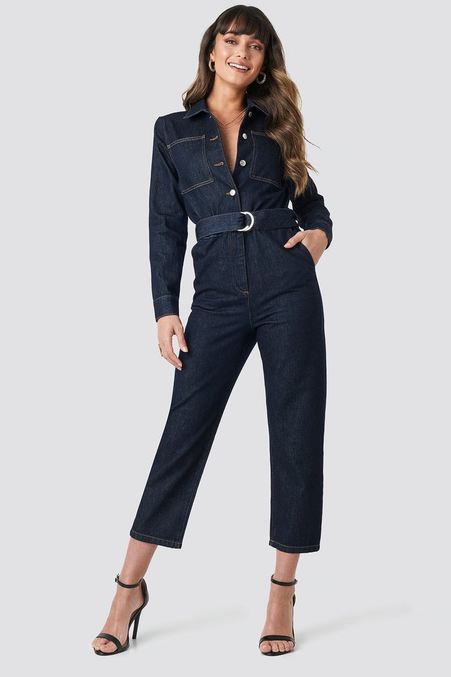 Waist Belt Denim Jumpsuit Indigo Blue