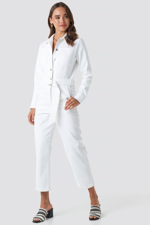 White Waist Belt Denim Jumpsuit