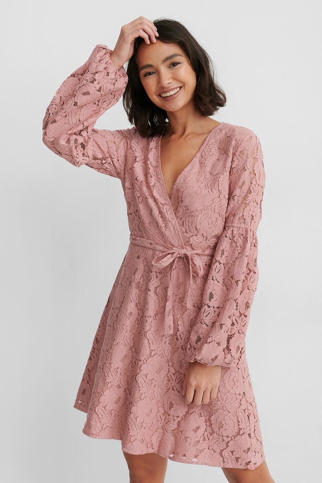 Dusty Rose Waist Belt Lace Dress