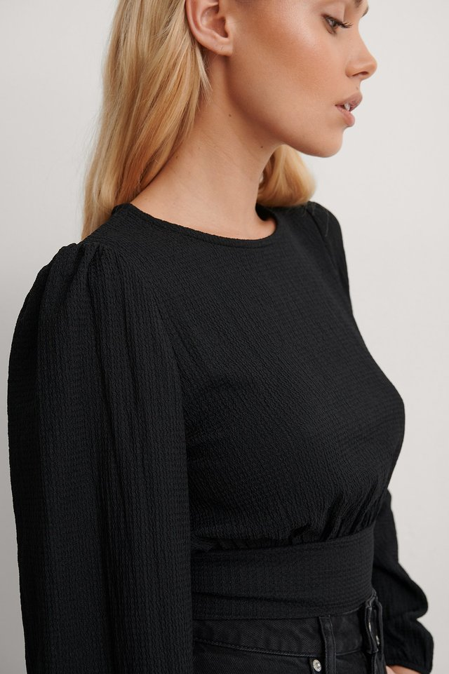 Black Waist Detail Crepe Top