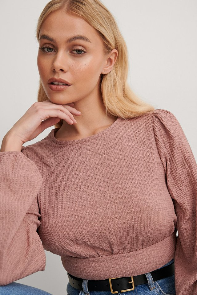 Dusty Pink Waist Detail Crepe Top