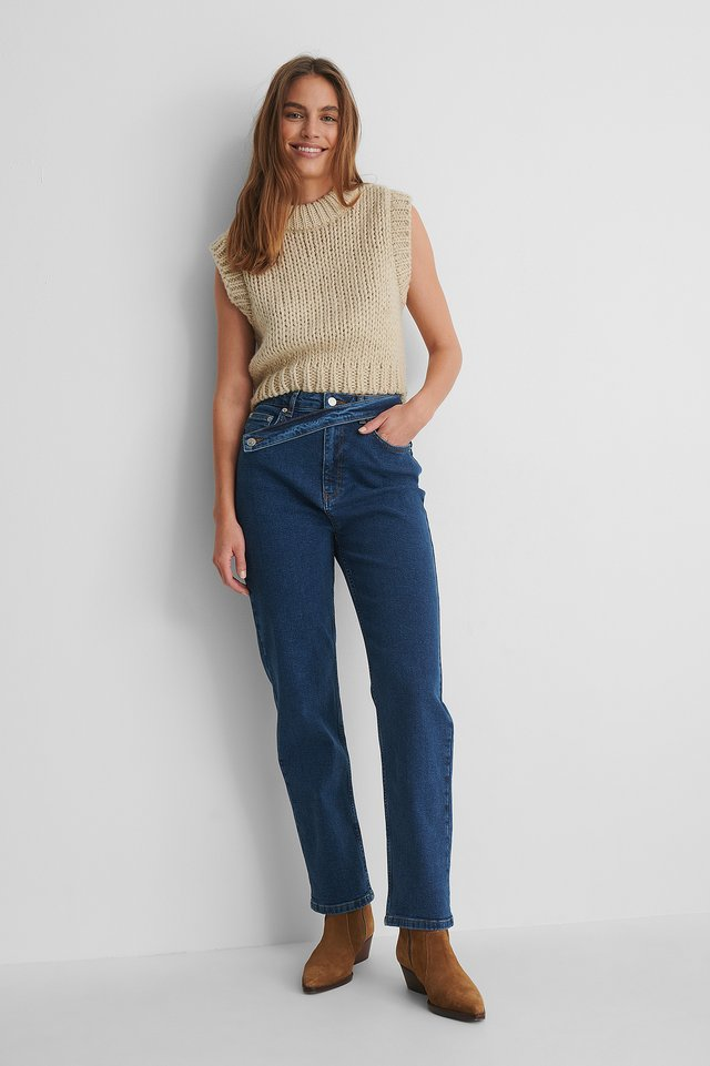 Mid Blue Waist Detail Straight Jeans