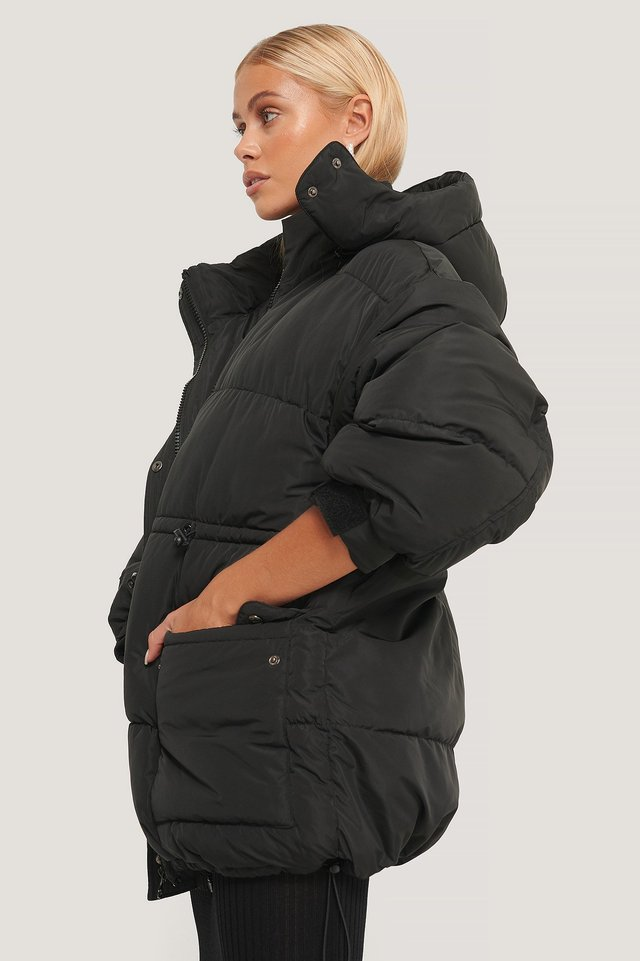 Black Waist Drawstring Padded Jacket