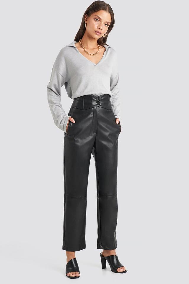 Waistband PU Pants Black