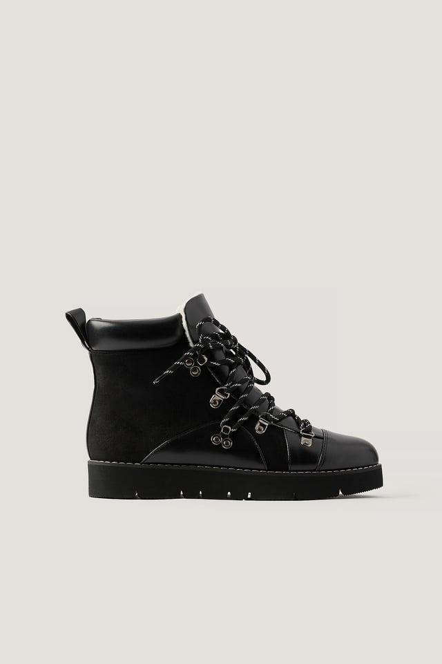 Warm Lined Trekking Boots Black