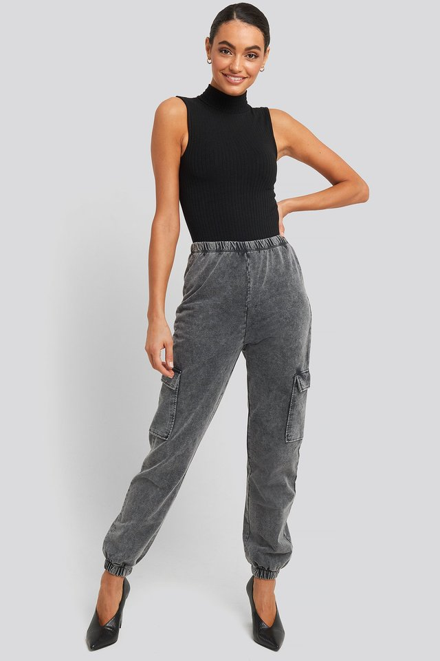 Washed Patch Pocket Joggers Grey