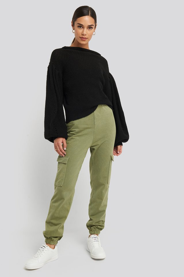 Washed Patch Pocket Joggers Green
