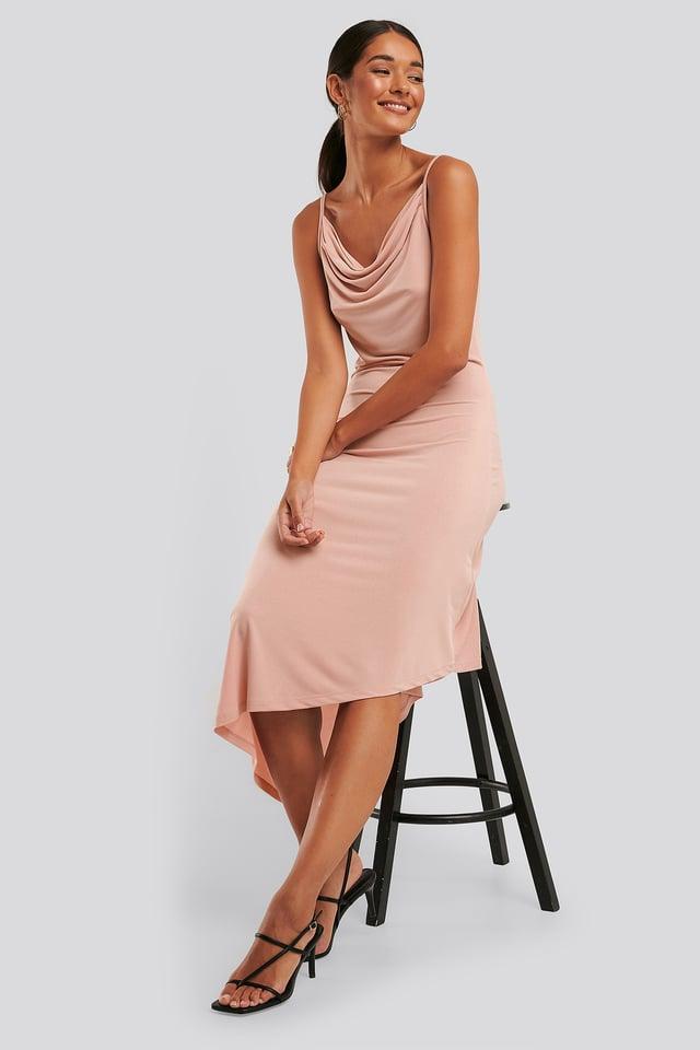 Asymmetrisk Kjole Med Drapering Dusty Pink