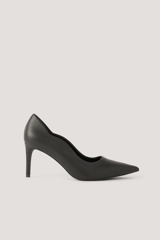 Pumps Med Vågig Kant Black