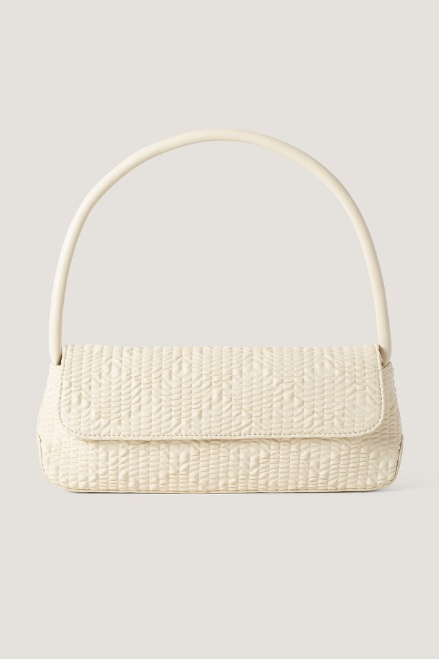 Wavy Structure Slim Shoulder Bag Cream