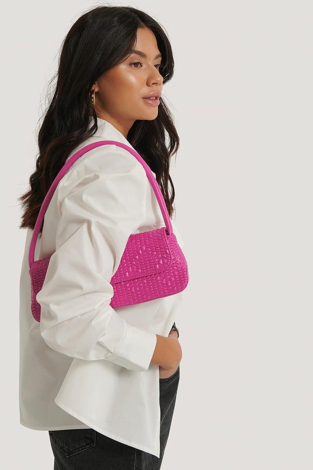 Wavy Structure Slim Shoulder Bag Hot Pink