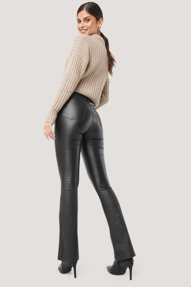 Black Waxed Flared Pants