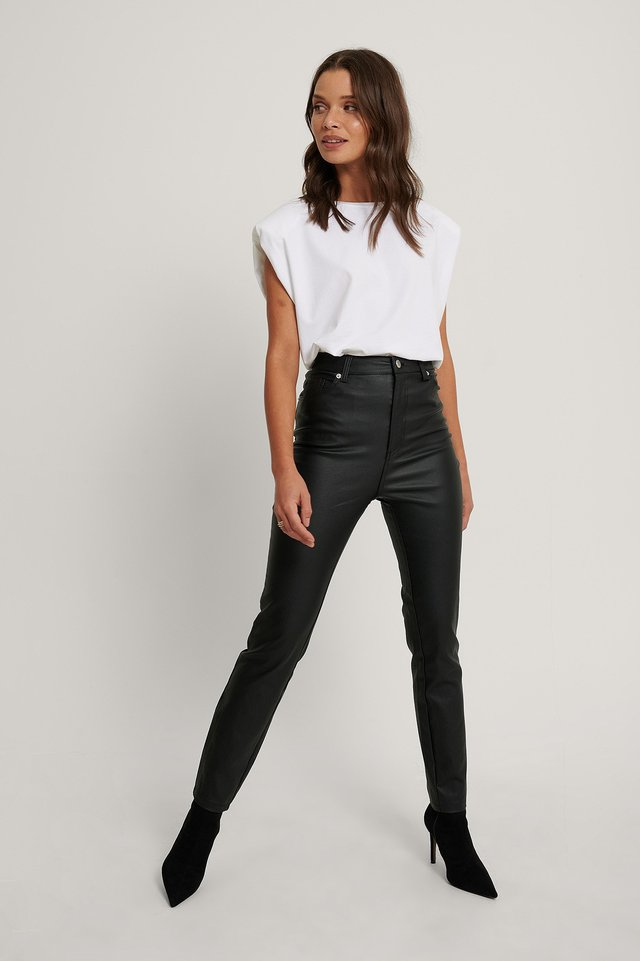 Waxed High Waist Trousers Black