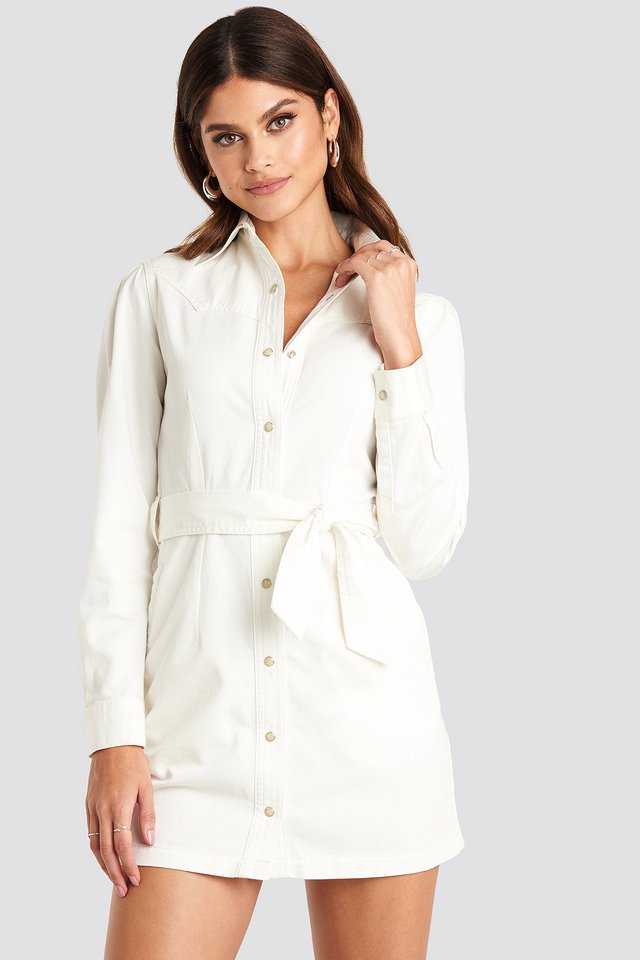 Western Denim Dress White