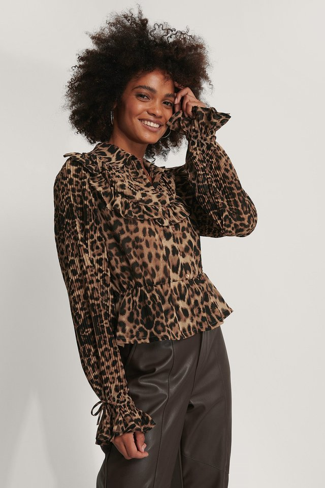 Chiffonbluse Leopard