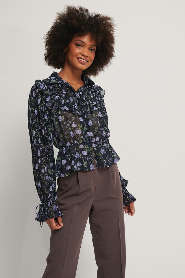 Western Detail Chiffon Blouse Purple Flower