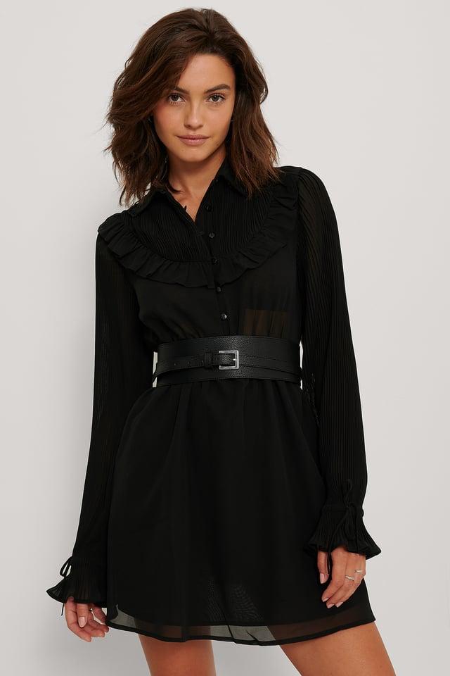 Vestido De Gasa Con Detalle Occidental Black