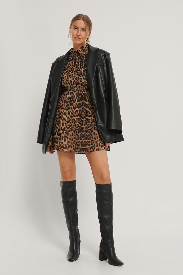 Western Detail Chiffon Dress Leopard