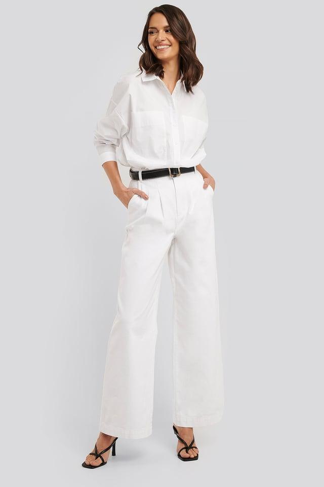 Highwaist Palazzo Jeans Optical White