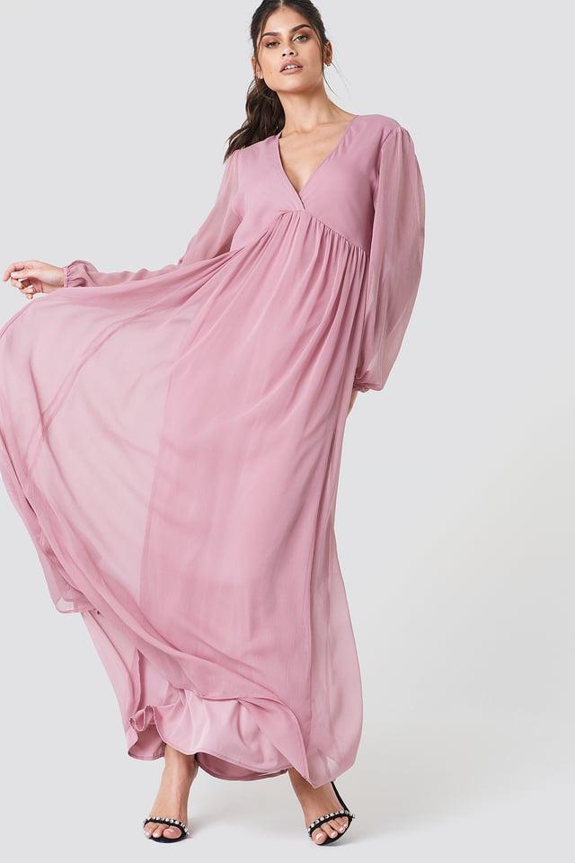 Wide Balloon Sleeve Chiffon Dress Dusty Pink