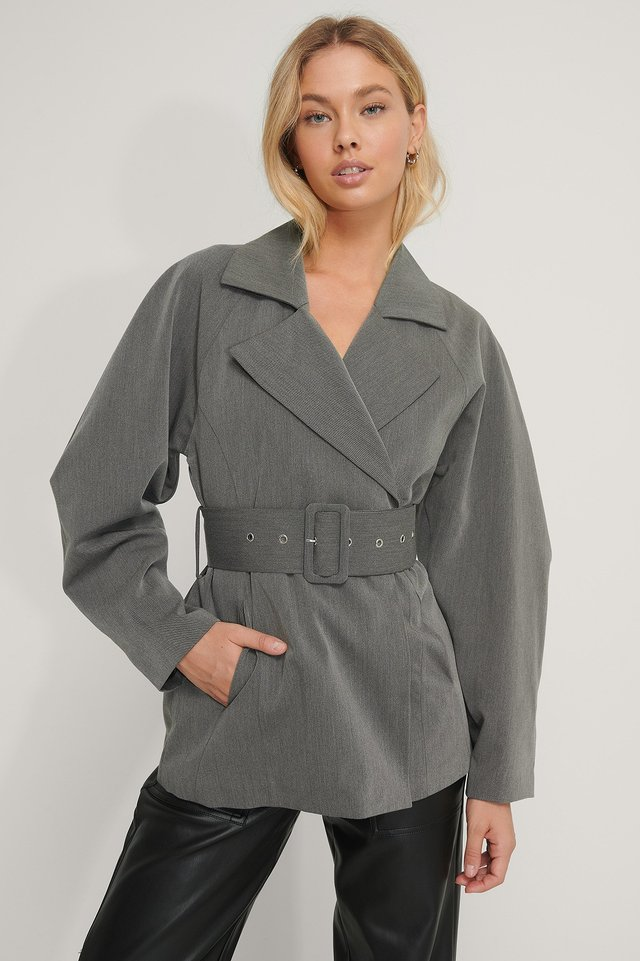 Wide Belt Blazer Grey