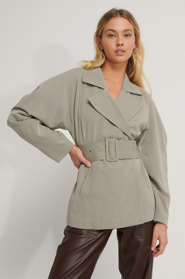 Wide Belt Blazer Dusty Light Green