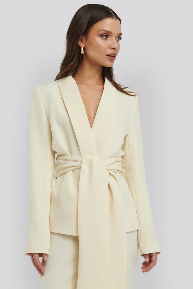 Cream Wide Belted Blazer