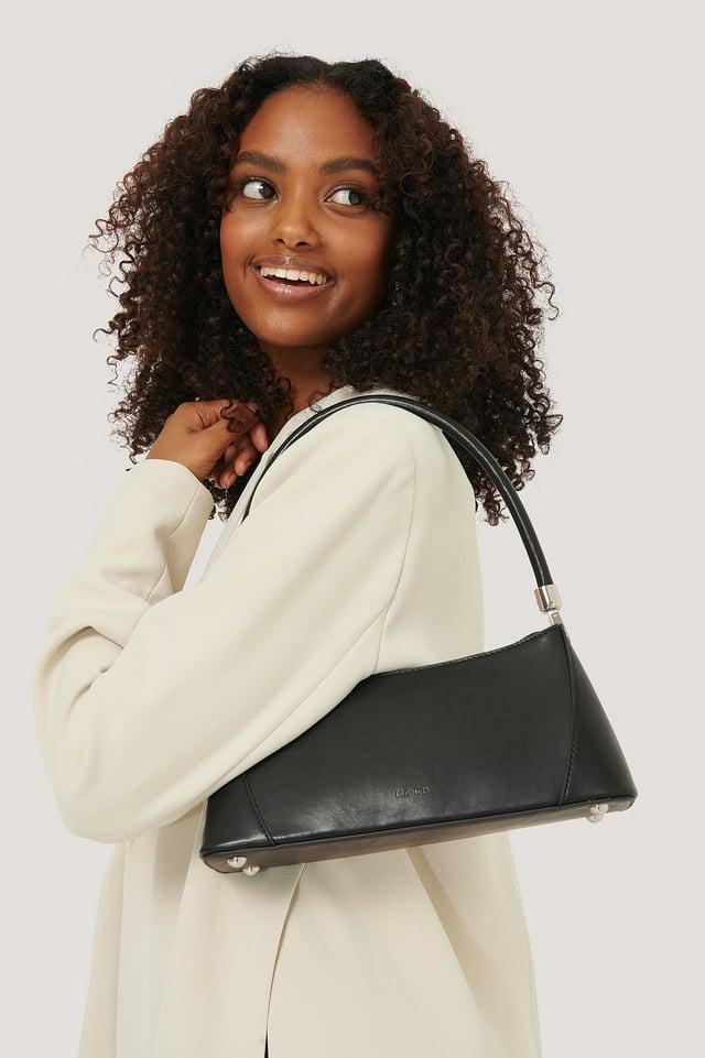 Black Wide Bottom Baguette Bag