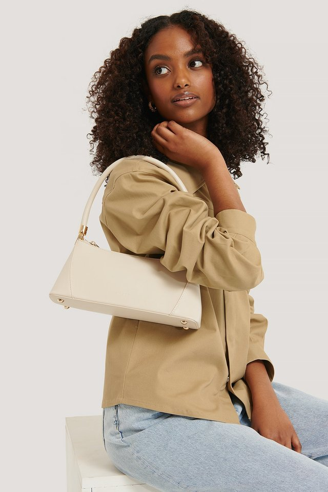Cream Wide Bottom Baguette Bag