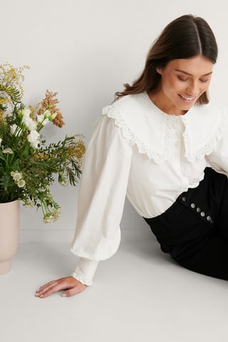 White Wide Collar Cotton Anglaise Blouse