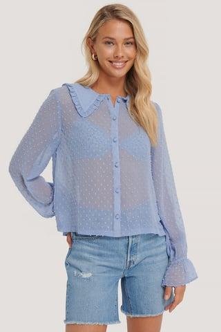Dusty Blue Ratière-Bluse Mit Weitem Kragen