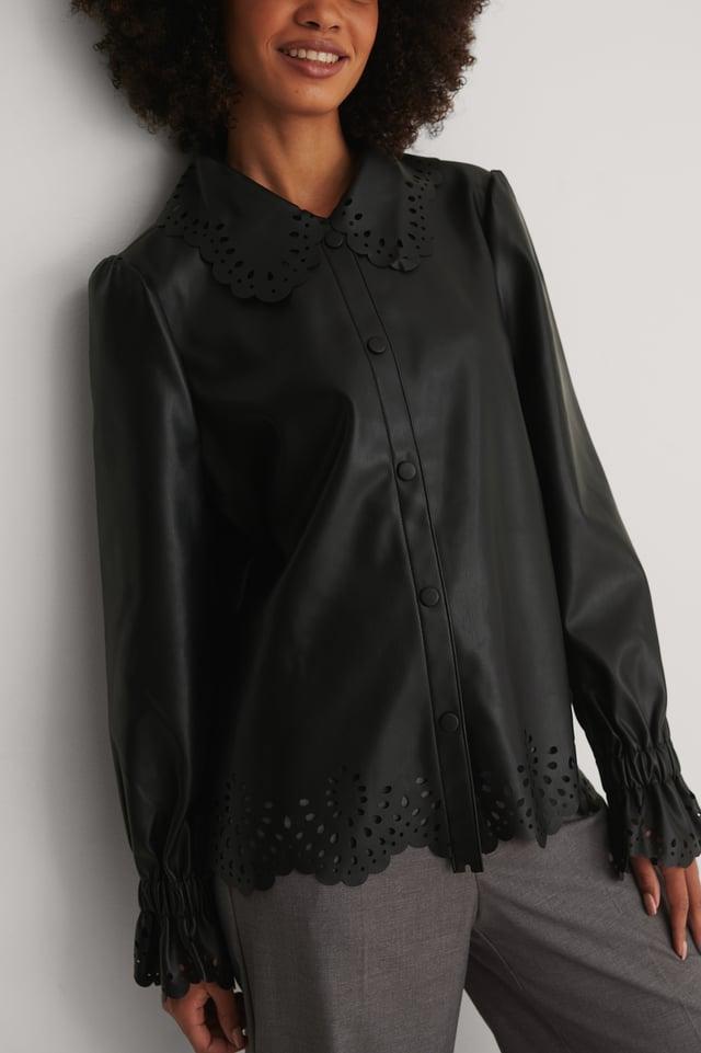 Black Wide Collar PU Blouse