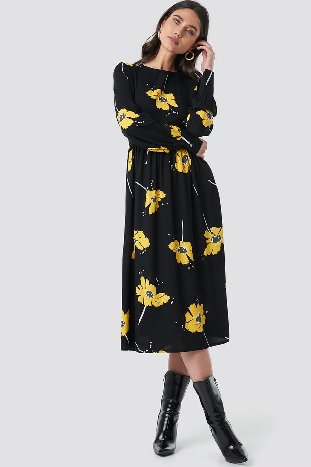Wide Cuff Balloon Sleeve Dress Black/Yellow