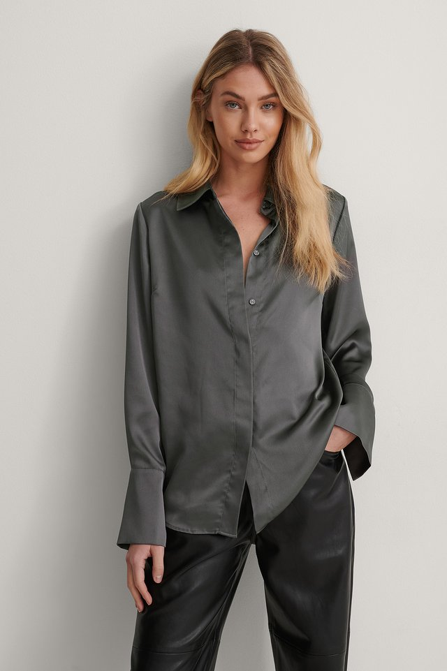 Ash grey Wide Cuff Satin Blouse