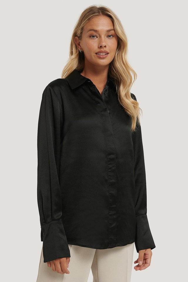 Wide Cuff Satin Blouse Black