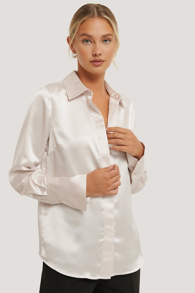 Sand Wide Cuff Satin Blouse