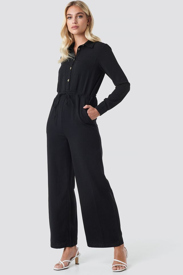 Black Wide Drawstring Jumpsuit