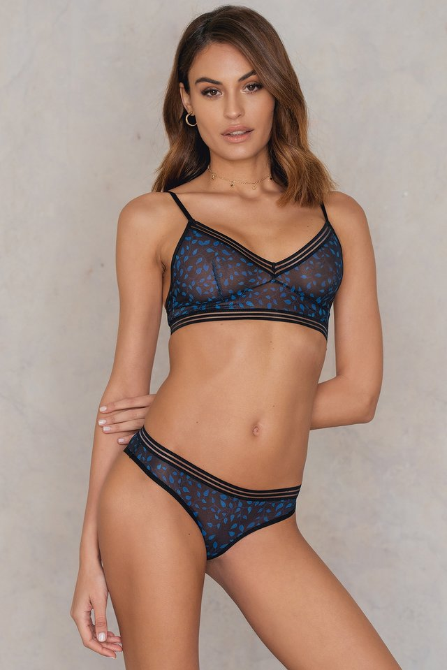 Black/Blue Pattern Wide Elastic Printed Mesh Briefs