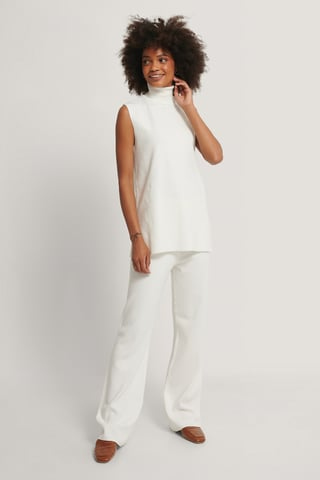 White Wide Knitted Pants