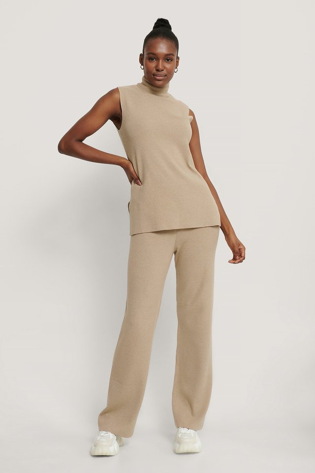 Beige Wide Knitted Pants