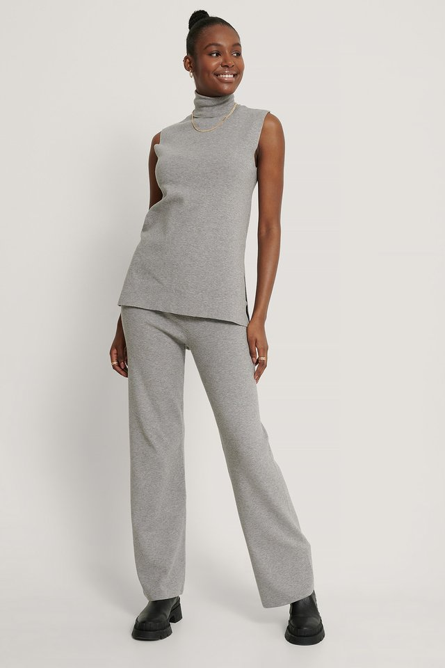 Grey Wide Knitted Pants