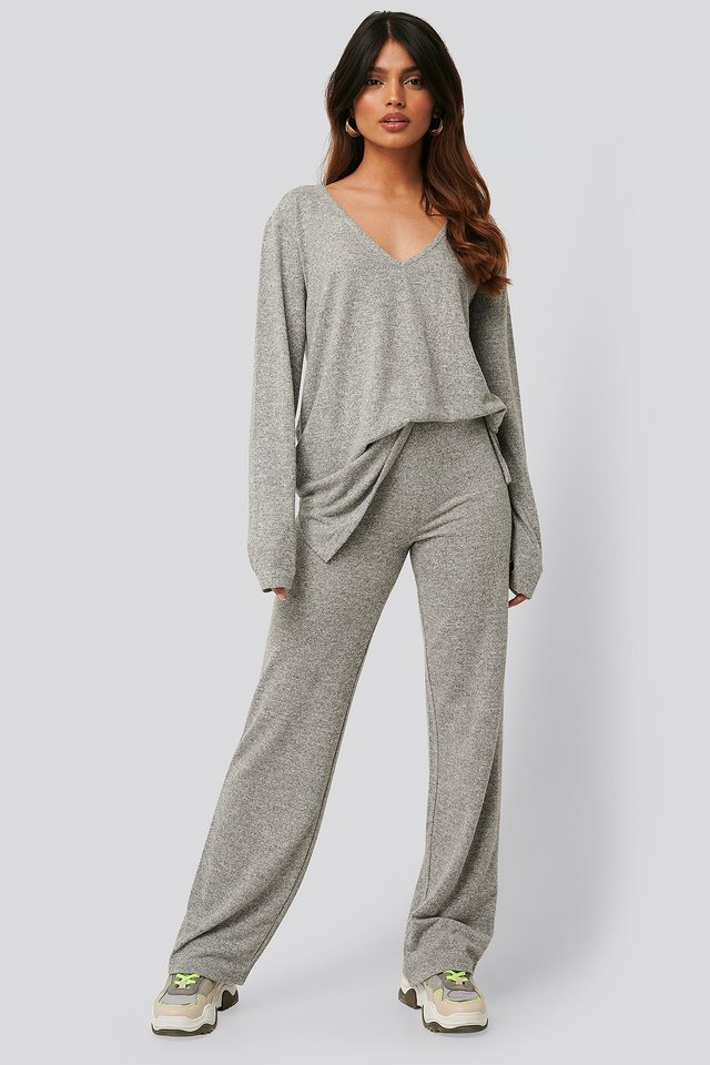 Grey Melange Wide Knitted Pants