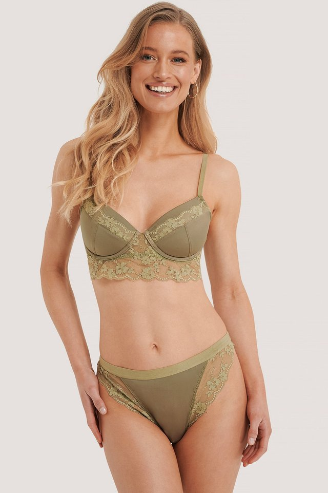 Wide Lace Edge Hipster Dusty Green